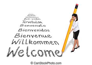 gigante, palabra, mujer de negocios, bienvenida, aislado, escritura, idiomas, fondo., vario, blanco, lápiz, europeo