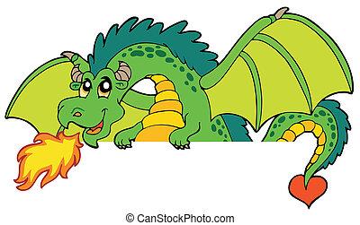 gigante, se ocultar, dragón verde