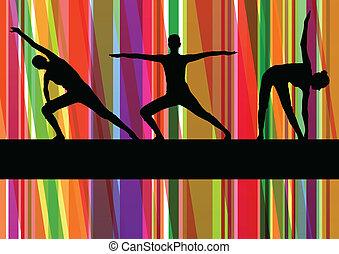 gimnástico, colorido, ilustración, vector, plano de fondo, condición física, ejercicios, línea, mujeres