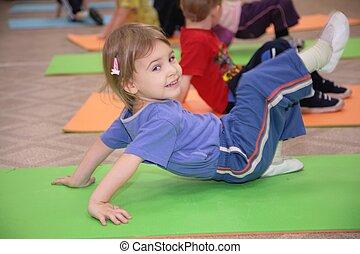 gimnasia, 3, ocupado, niña