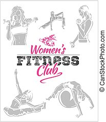 gimnasio, -, vector, condición física, womens, acción