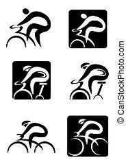 Girando iconos de ciclismo