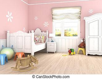 girlâ´s, dormitorio, rosa