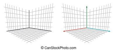 gl, proyección, eje, matriz, vector, perspectiva, abierto, 3d