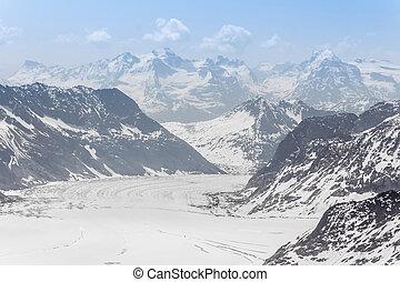 Glaciar Aletsch en el jungfraujoch, alpes, Suiza