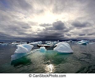 glaciar, jokulsarlon, encima, turbulento, lago, ocaso