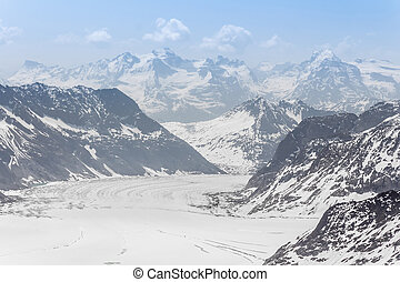 glaciar, jungfraujoch, suiza, alpes, aletsch