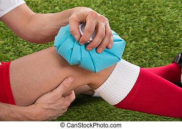glaseado, hielo, jugador, rodilla, futbol, paquete