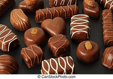 glaseado, muchos, chocolate, oscuridad, candys, plano de fondo, apetitoso