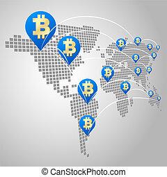 global, concepto, bitcoin, empresa / negocio