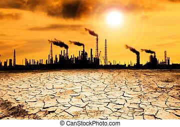 global, refinería, concepto, warming, humo
