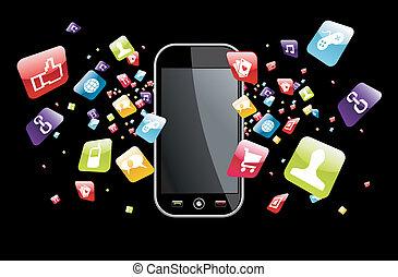 global, smartphone, salpicadura, apps, iconos