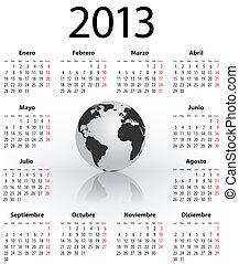globo, calendario, 2013, español