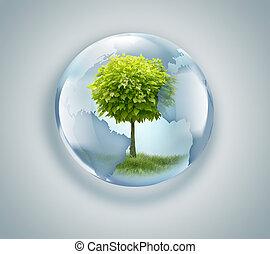 Globo con árbol dentro