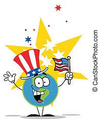 Globo con sombrero patriótico americano