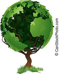 Globo concepto de árbol del mundo