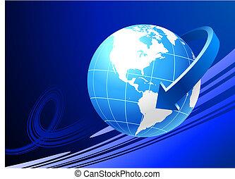 Globo de fondo azul con flecha