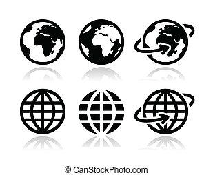 globo de la tierra, vector, conjunto, iconos