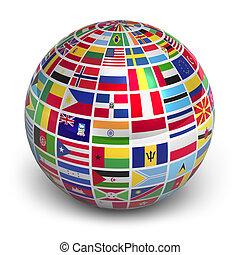 globo del mundo, banderas