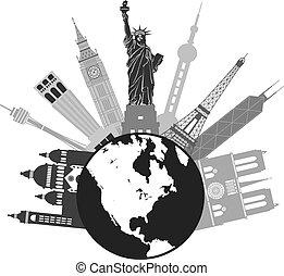 globo del mundo, grayscale, viaje, ilustración