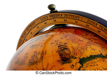 globo del mundo, viejo, mapa