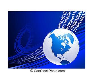 Globo en antecedentes de negocios azules