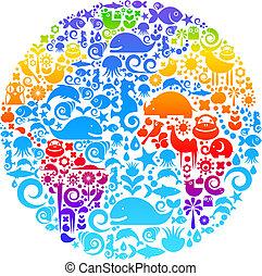 Globo esbozo hecho de aves, animales y iconos de flores