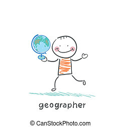 globo, geógrafo, manos