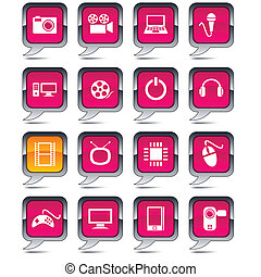 globo, multimedia, icons.