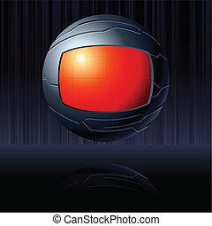 globo, negro rojo, futurista