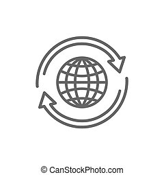 globo, plano, icono