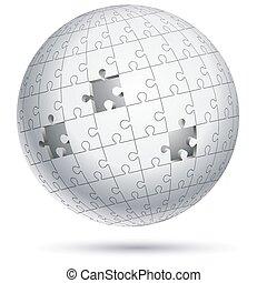 globo, vector, illustrations., sphere., rompecabezas, rompecabezas