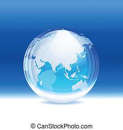 globo, vector, transparente, nieve