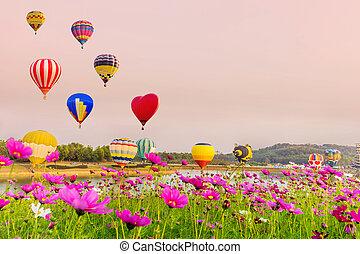 Globos aerostáticos volando sobre flores cosmos al atardecer