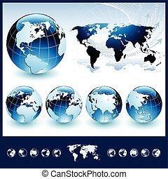 Globos azules con mapa mundial