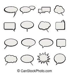 globos, burbujas, discurso, o, charla