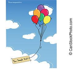 Globos coloridos con etiqueta vacía en el cielo azul