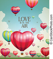 Globos de aire caliente con forma de corazón