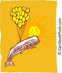 Globos de ballena y amarillo