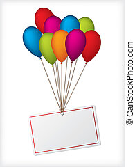 Globos de cumpleaños con etiqueta blanca editable