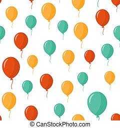 globos, patrón, encima, fondo., vector, illustration., seamless, colorido, blanco