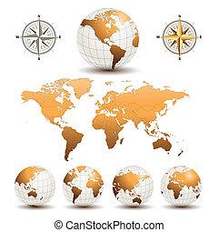 Globos terrestres con mapa mundial