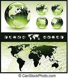 Globos verdes con mapa mundial
