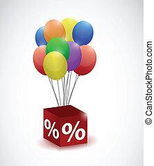 Globos y porcentaje de ilustraciones de cubo