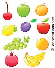 Gloriosos iconos de fruta