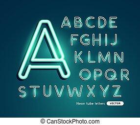 Glowing neon vector alfabeto