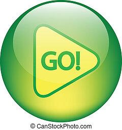 """""""go"""", brillante, botón"""