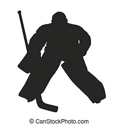 goalie., vector, silueta, hockey