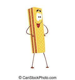 Gofre de dibujos animados con carita sonriente, divertido vector de comida rápida de caracteres de ilustración