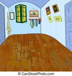 gogh's, sin, furgoneta, furniture., dormitorio
